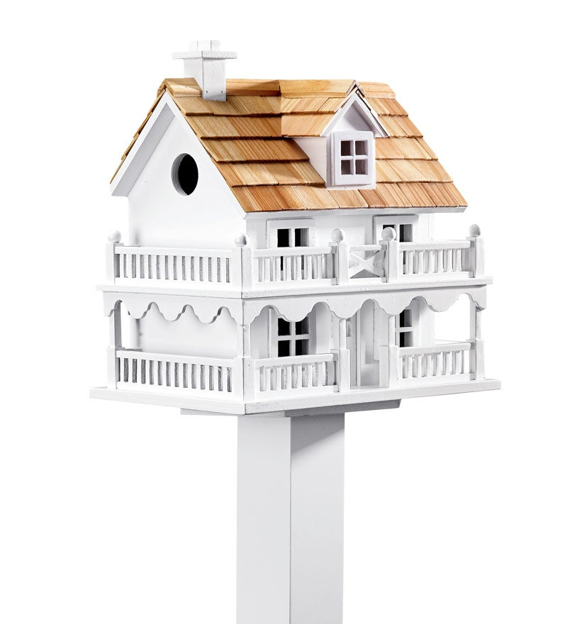 Wooden Cape Cod Birdhouse and Pedestal Pole Set (Home & Garden Decor) photo