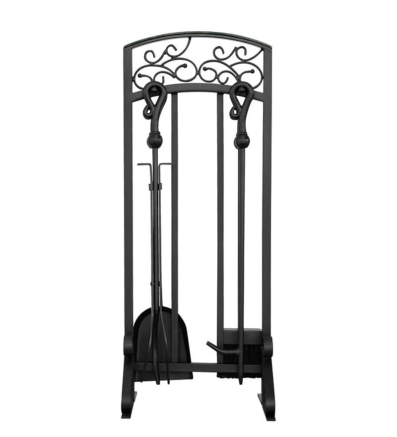 5-Piece Wrought Iron Fireplace Tool Set with Hammered Copper Top Trim