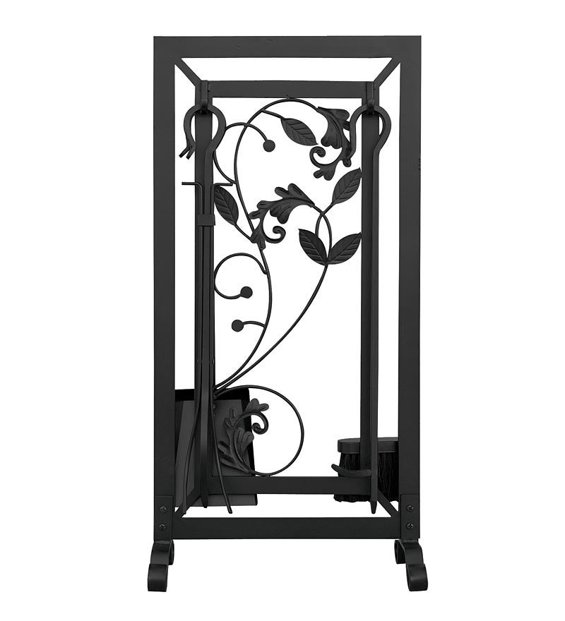Black Wrought Iron 5-Piece Fireplace Tool Set with Flowing Leaf Design
