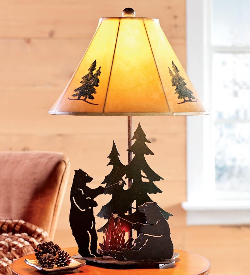Bears Roasting Marshmallows Lamp With Campfire Nightlight