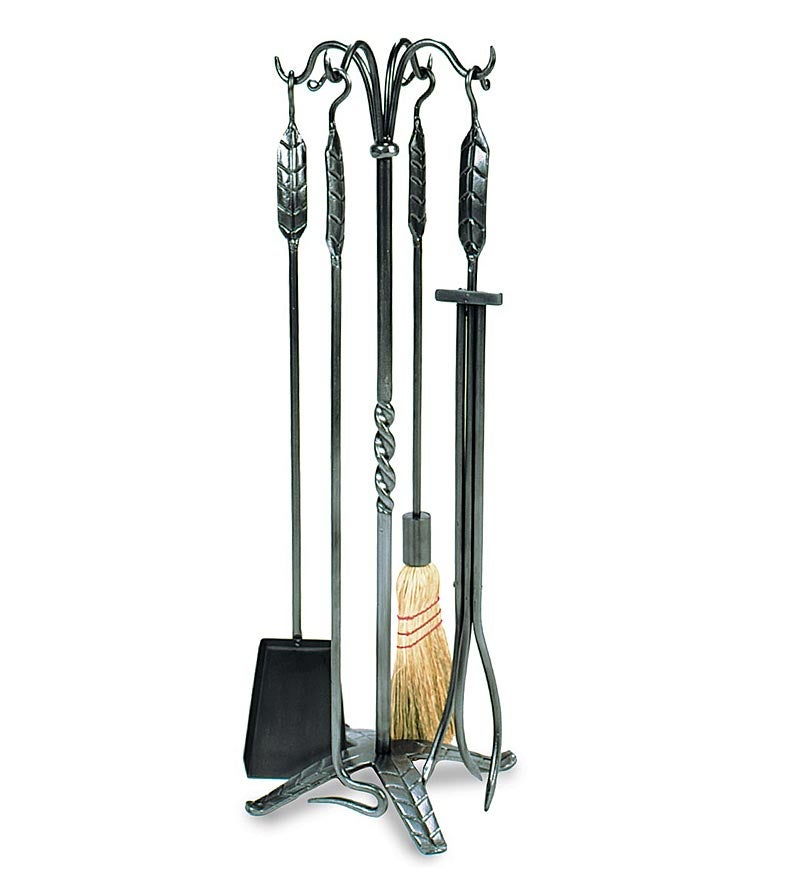 5-Piece Fireplace Tool Set with Leaf Handles, in Graphite