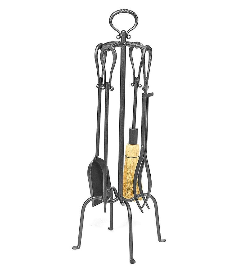 5-Piece Fireplace Tool Set with Loop Handles, in Graphite