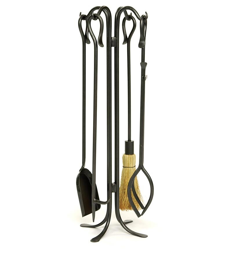 5-Piece Wrought Iron Fireplace Tool Set w/ Hearth Hooks, in Graphite
