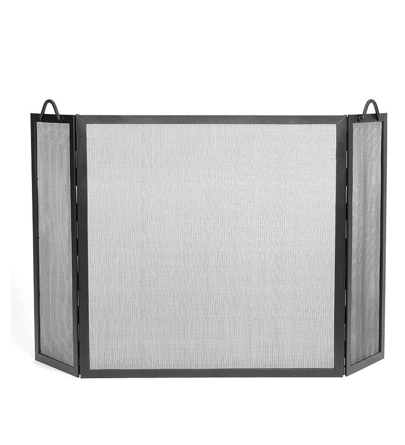 Wrought Iron Twisted Rope Folding Fireplace Screen
