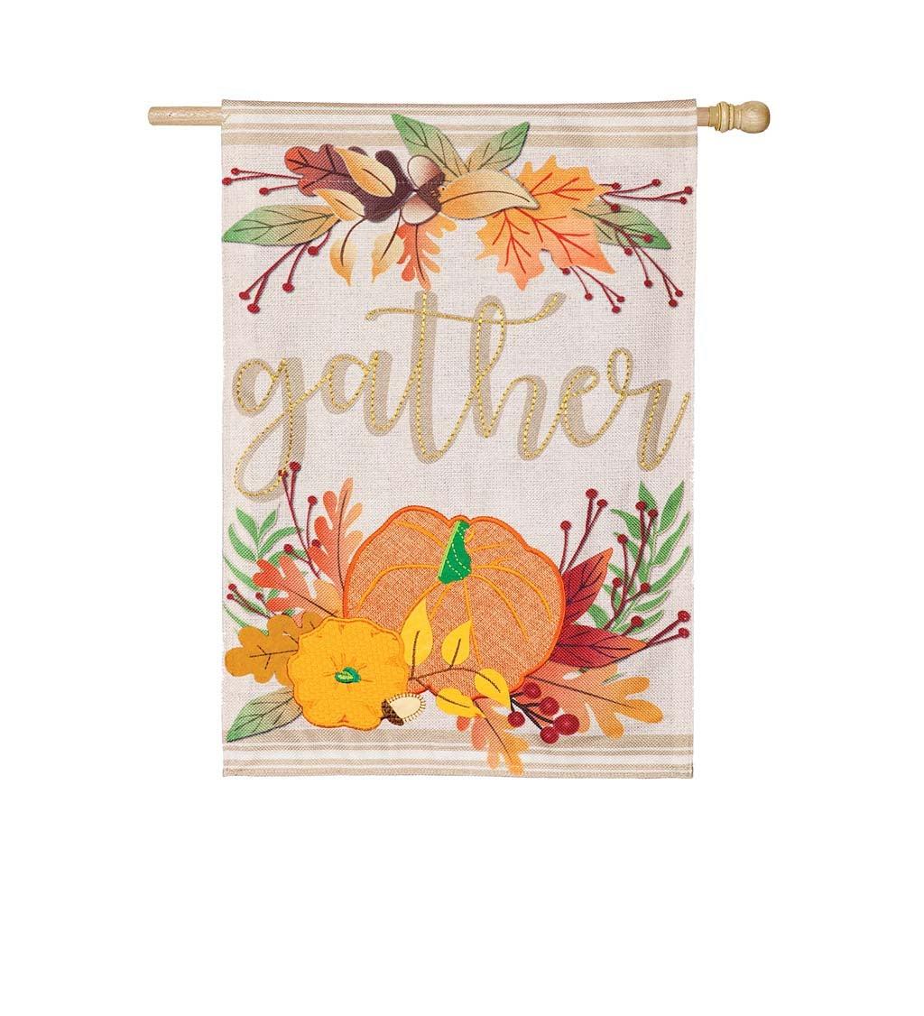 Autumn Gather House Burlap Flag