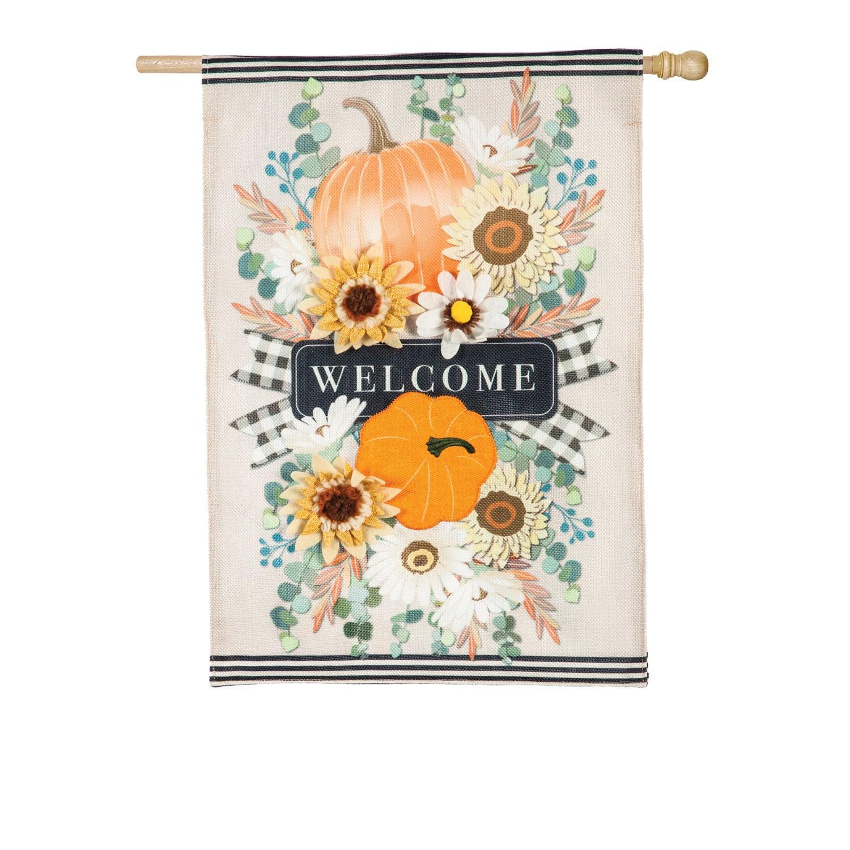 Autumn Floral Swag House Burlap Flag