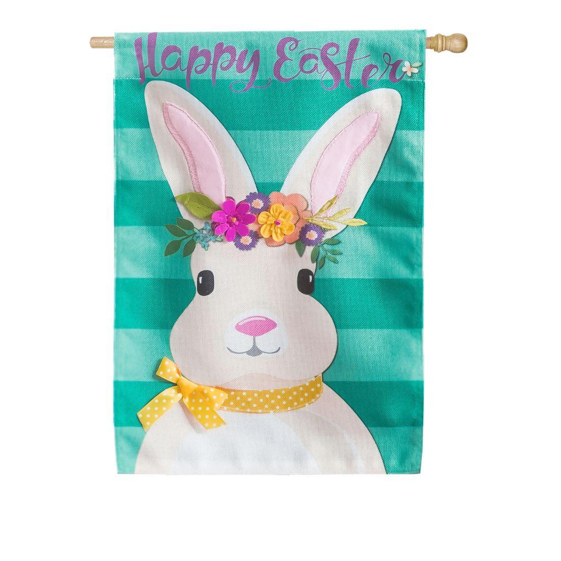 Easter Bunny House Burlap Flag