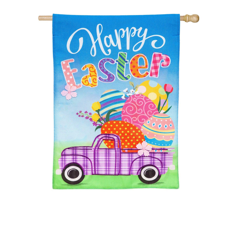 Easter Plaid Truck House Burlap Flag