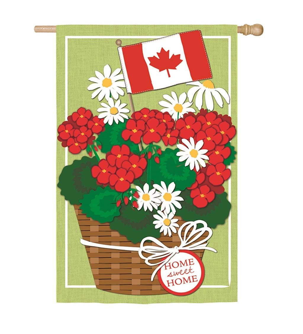 Canadian Basket of Flowers Linen House Flag