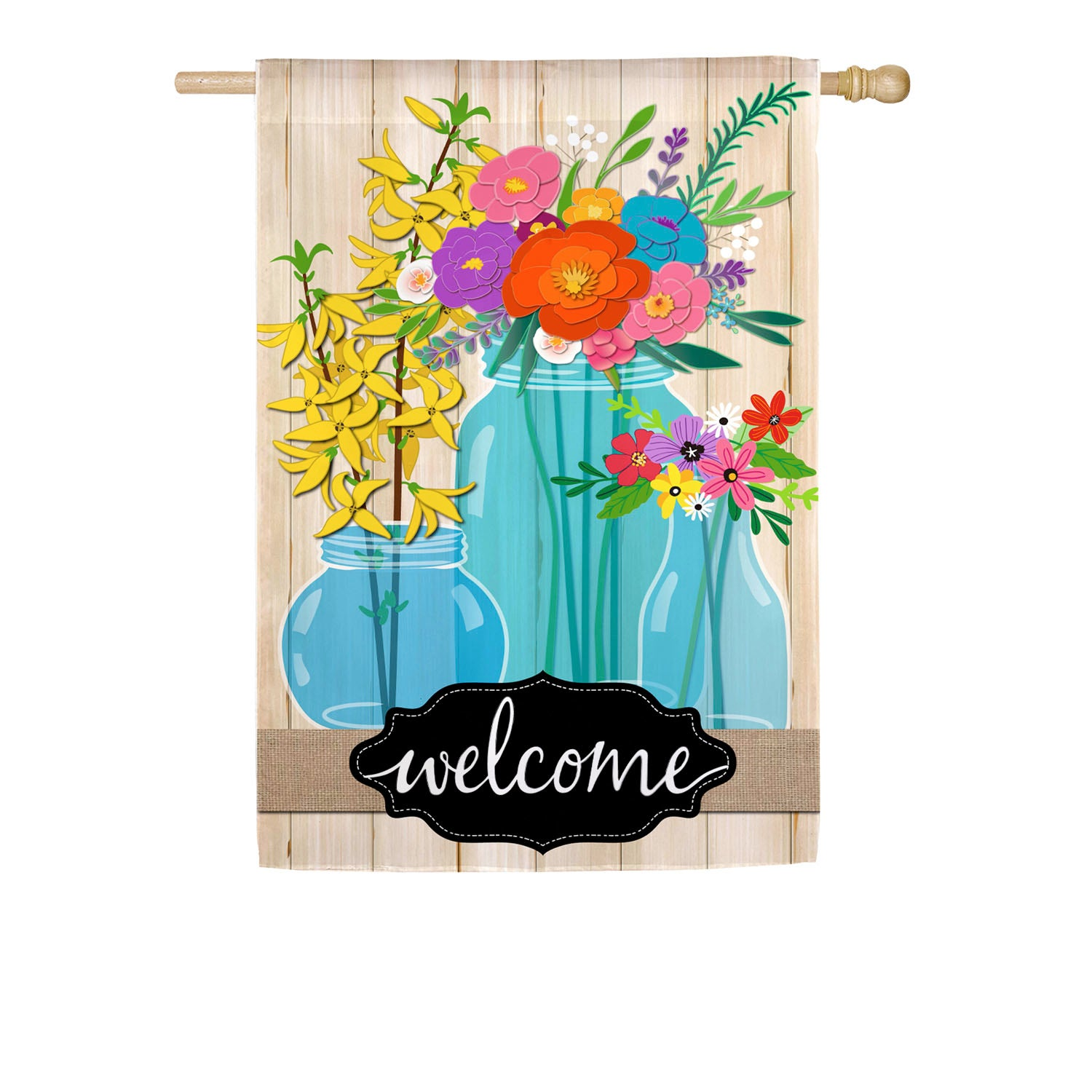 Blue Glass Floral Welcome House Linen Flag