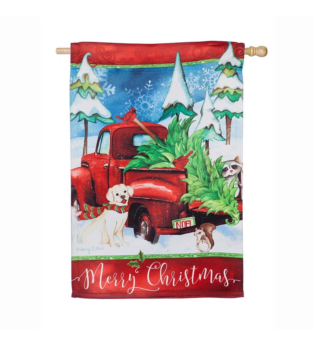 Bringing Home the Christmas Tree Suede House Flag