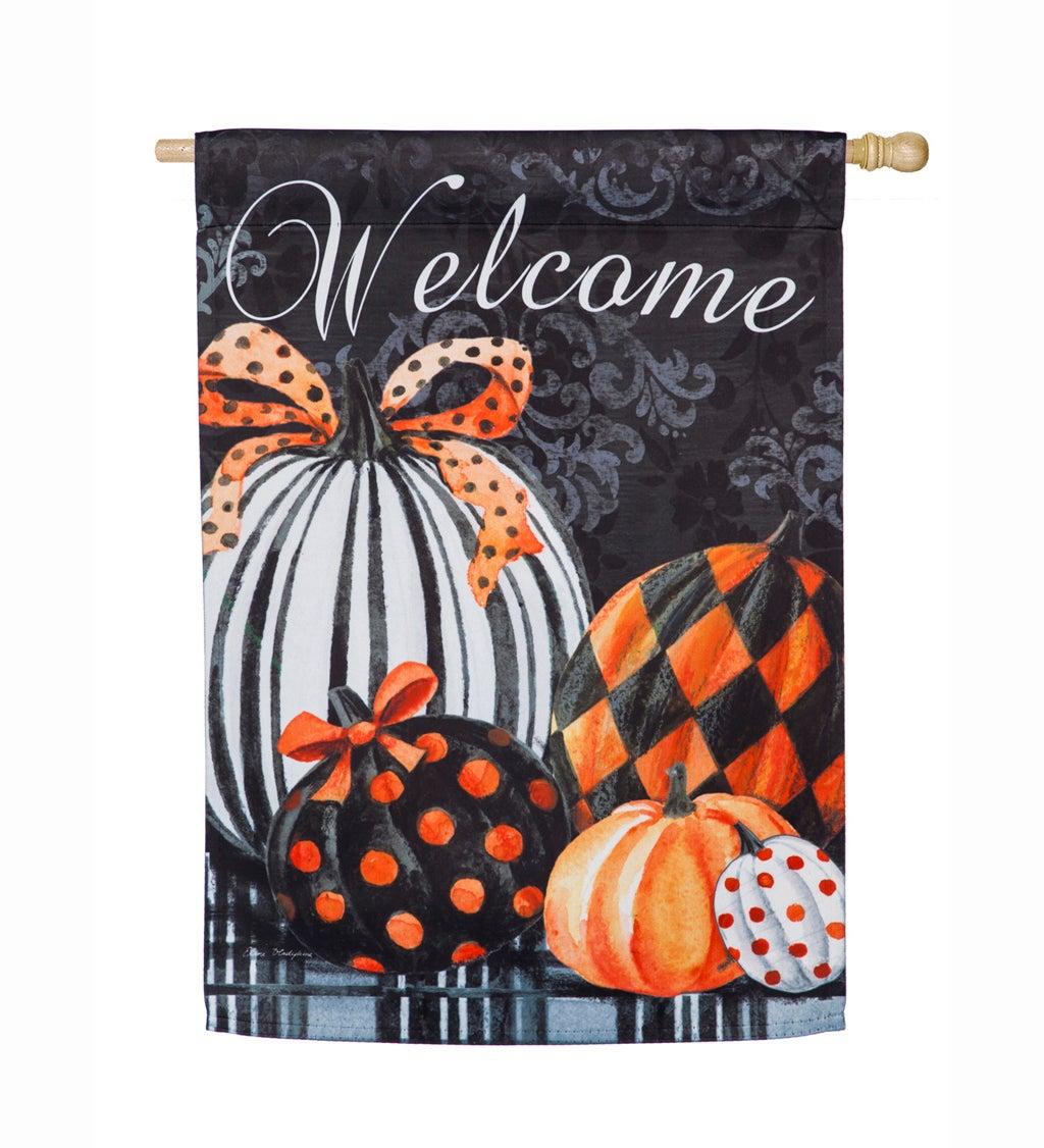 Elegant Pattern Pumpkins Suede House Flag