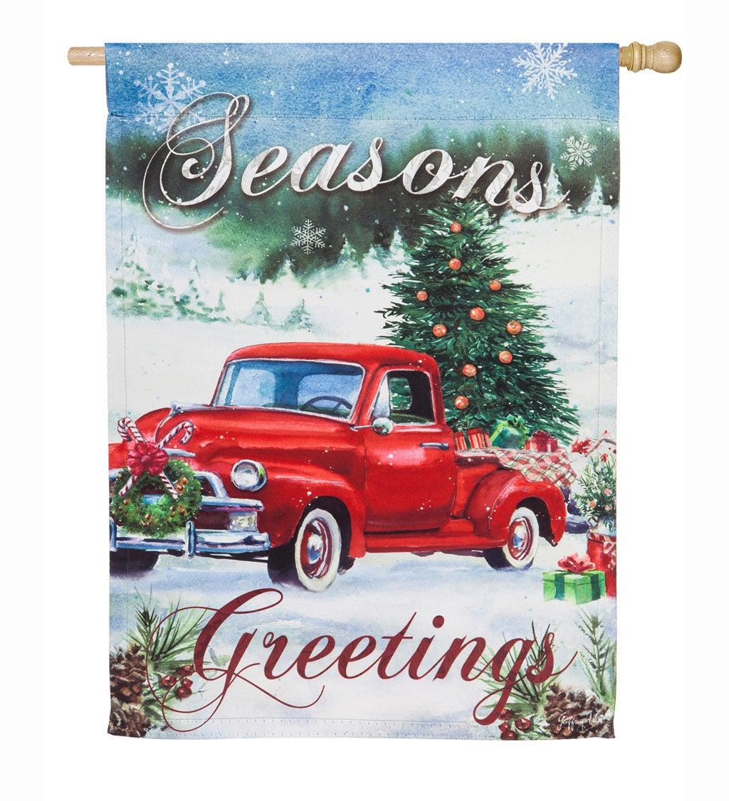 Christmas Farm Pickup Suede House Flag