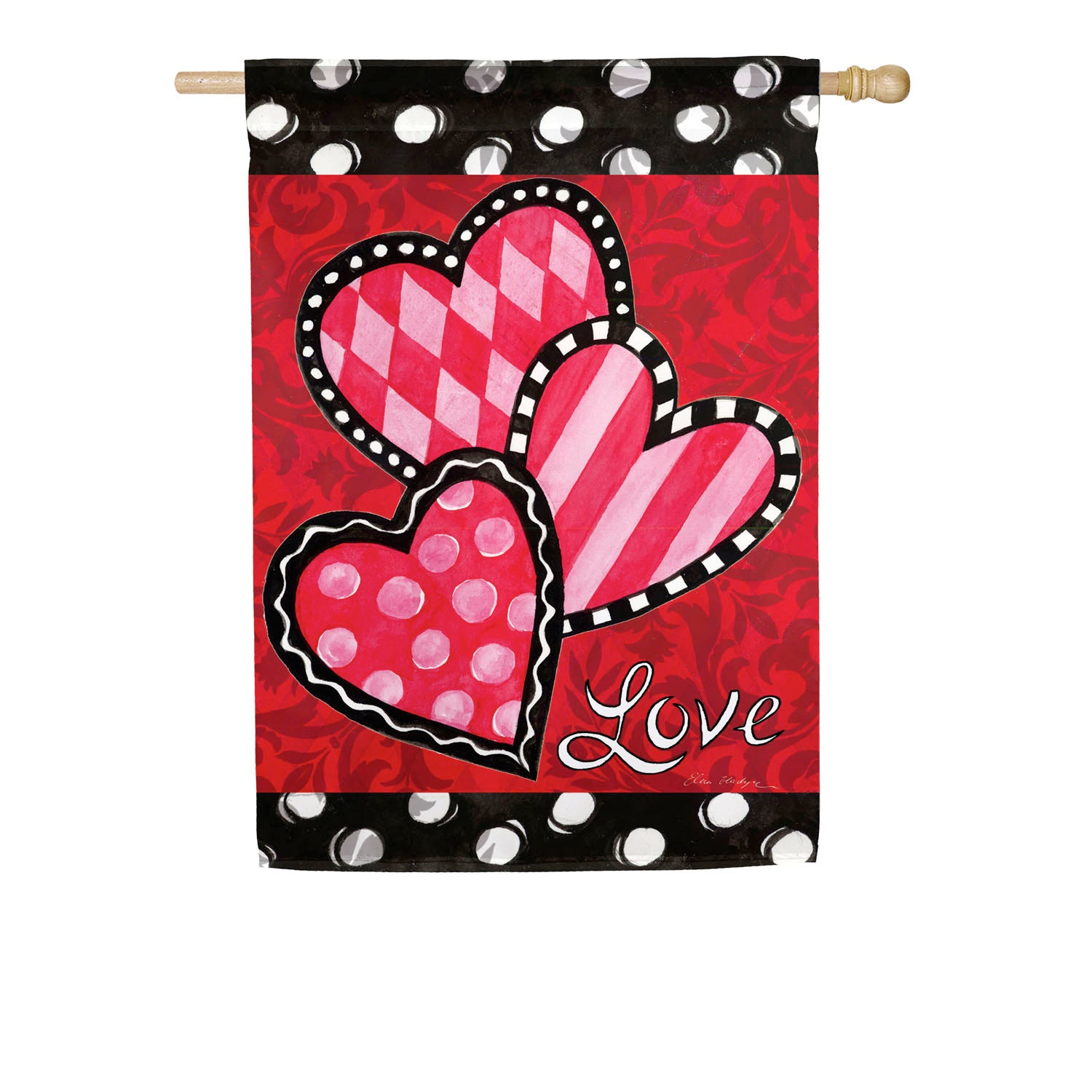 Bright Valentine's Hearts House Suede Flag