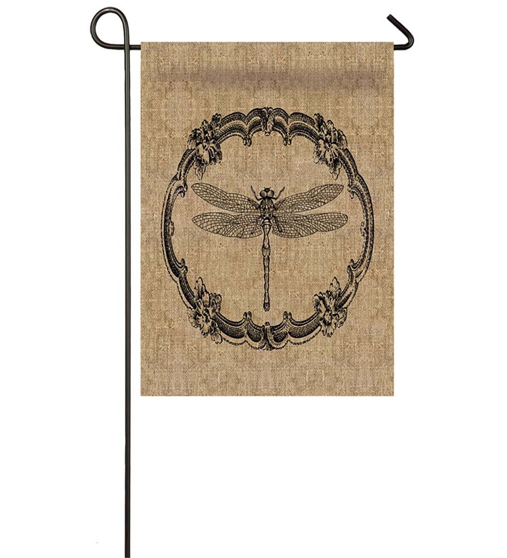 Burlap Ornate Dragonfly Garden Flag, 12.5 x 18 inches
