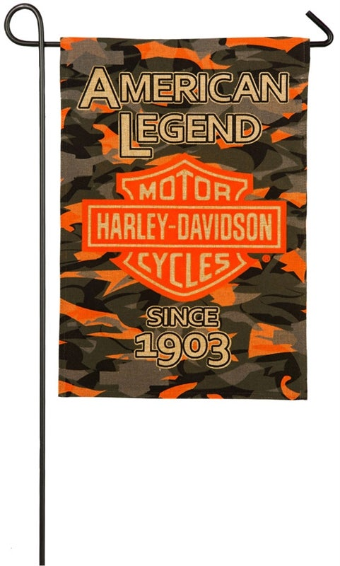 Harley Davidson Camo Bar and Shield Burlap Garden Flag