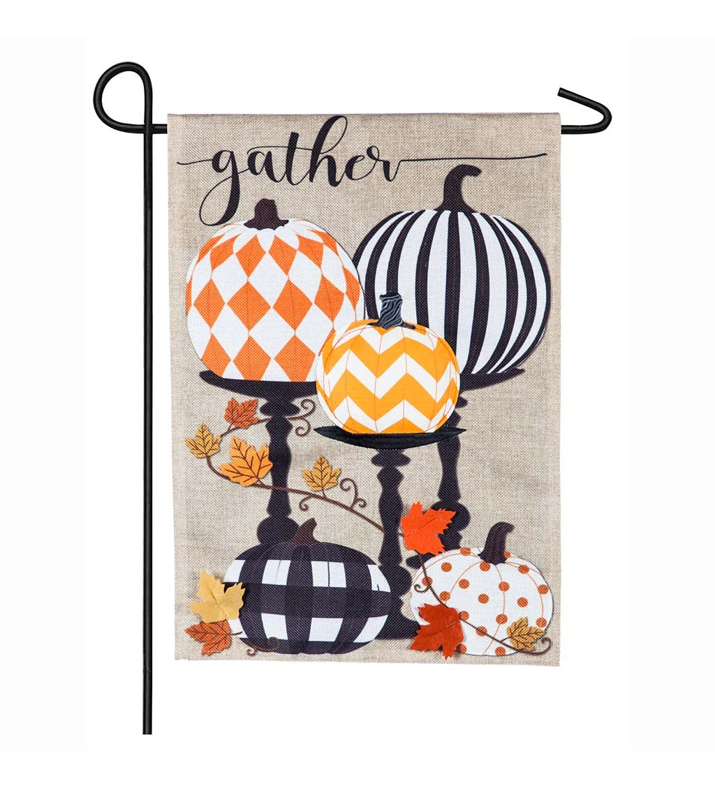 Gather Pattern Pumpkins Burlap Garden Flag