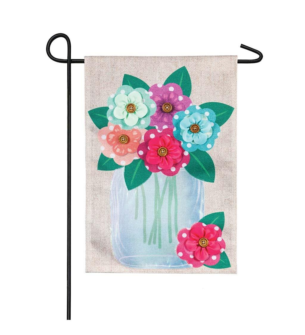 Polka Dot Floral Mason Jar Garden Burlap Flag