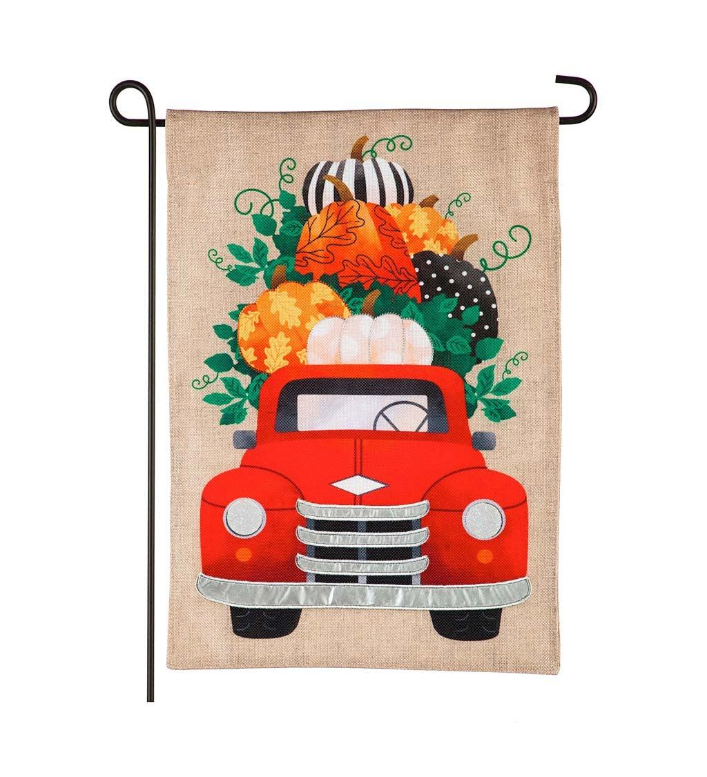 Fall Pumpkins Red Truck Garden Burlap Flag