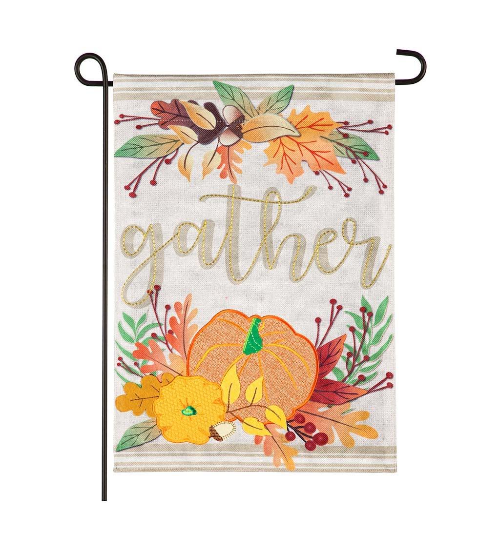 Autumn Gather Garden Burlap Flag