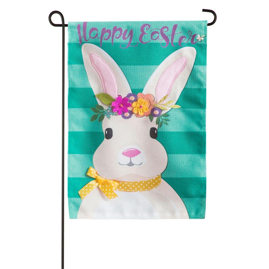 Easter Bunny Garden Burlap Flag