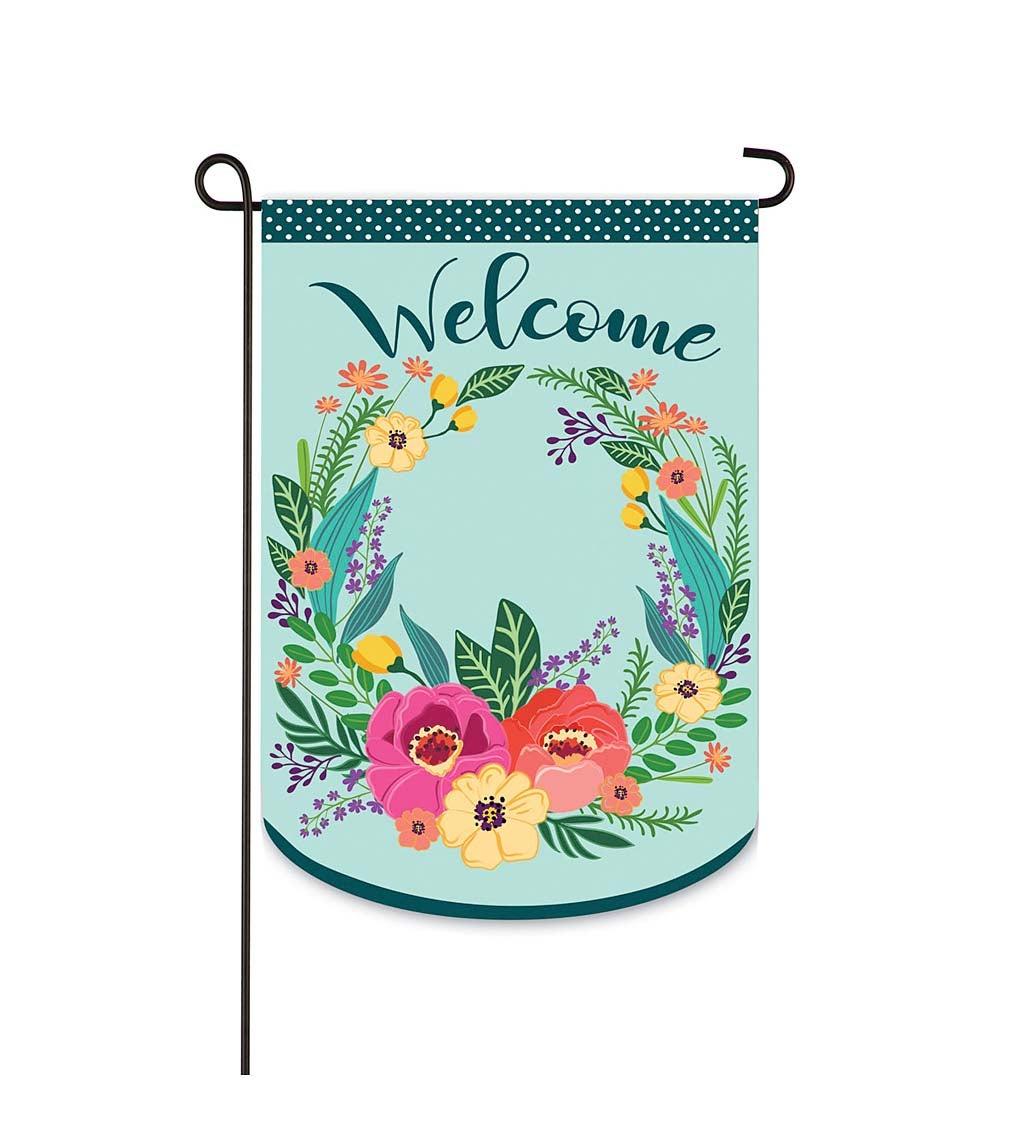 Spring Floral Welcome Wreath Garden Applique Flag