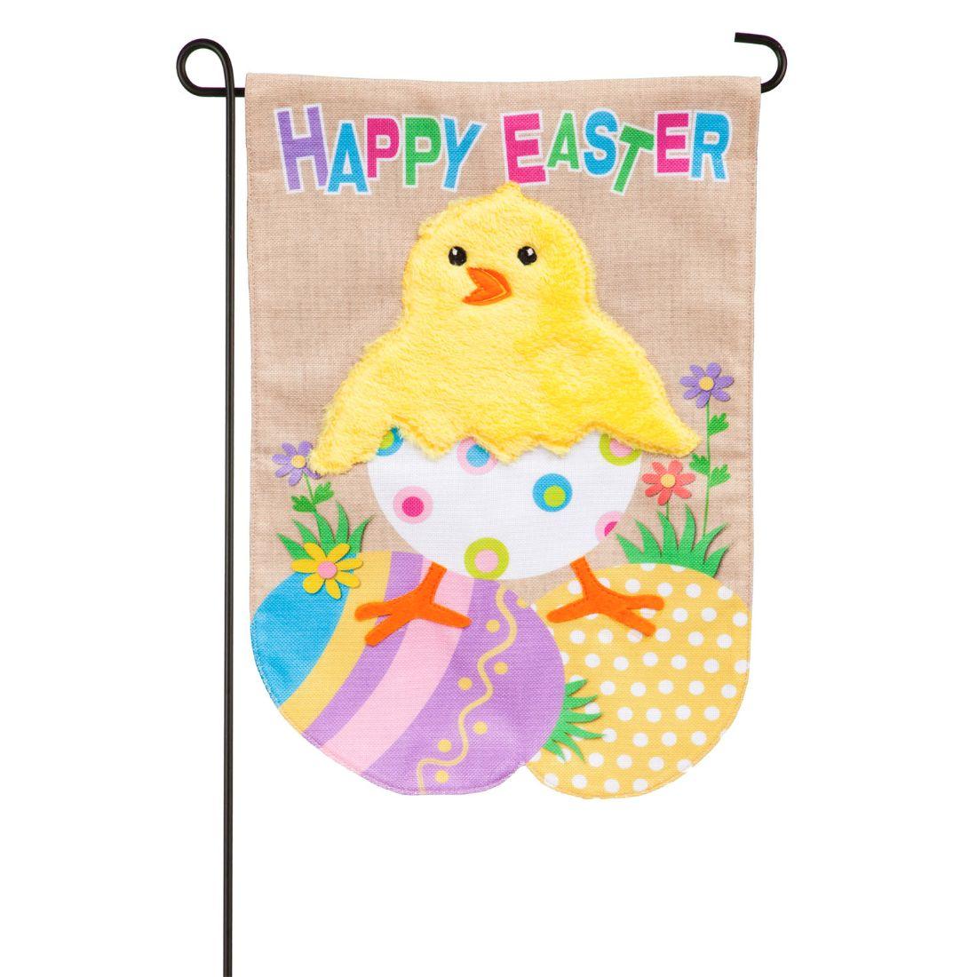 Easter Chick Garden Burlap Flag