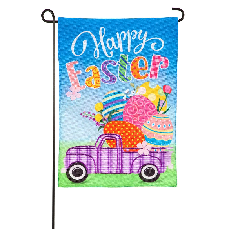 Easter Plaid Truck Garden Burlap Flag