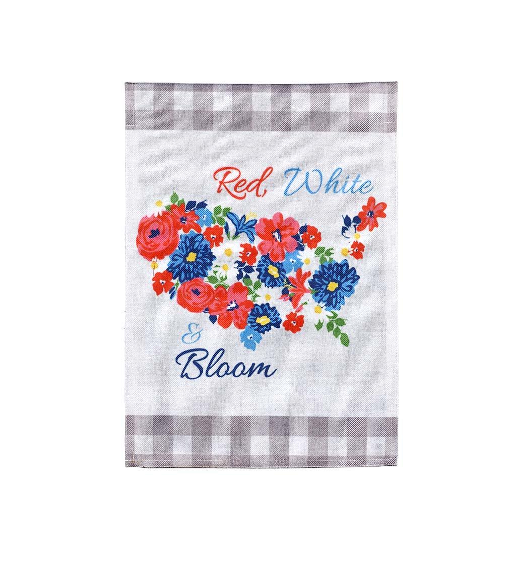 Americana Floral with Buffalo Plaid Garden Burlap Flag
