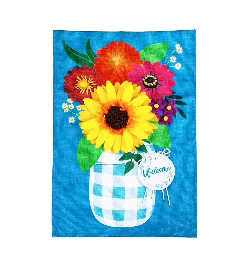 Plaid Mason Jar with Flowers Garden Burlap Flag