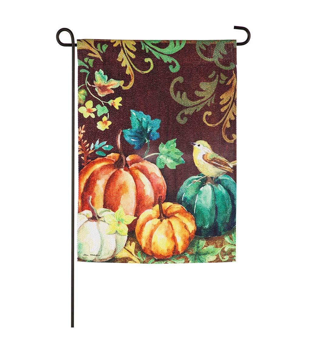 Fall Pumpkins and Bird Garden Textured Suede Flag