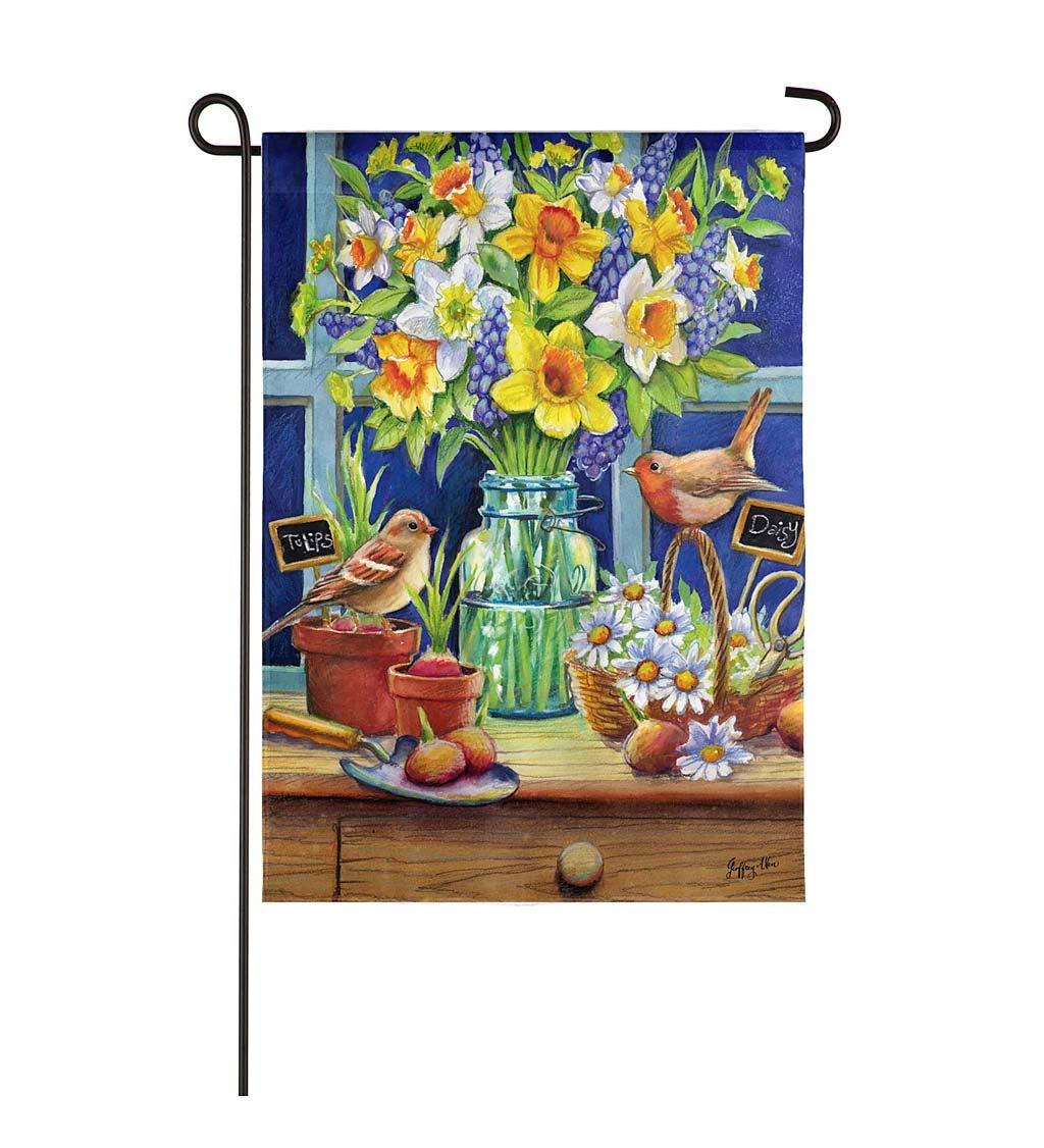 Floral Mason Jar and Robins Garden Textured Suede Flag