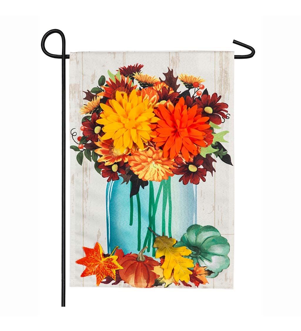 Fall Mums Floral Mason Jar Linen Garden Flag