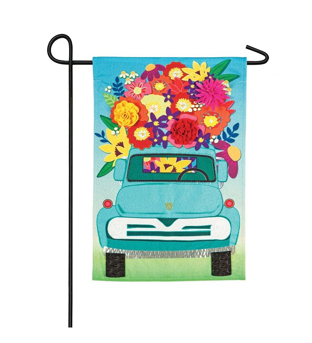 Mint Flower Truck Garden Linen Flag