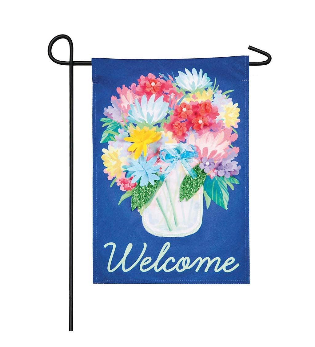 Floral Mason Jar Garden Linen Flag