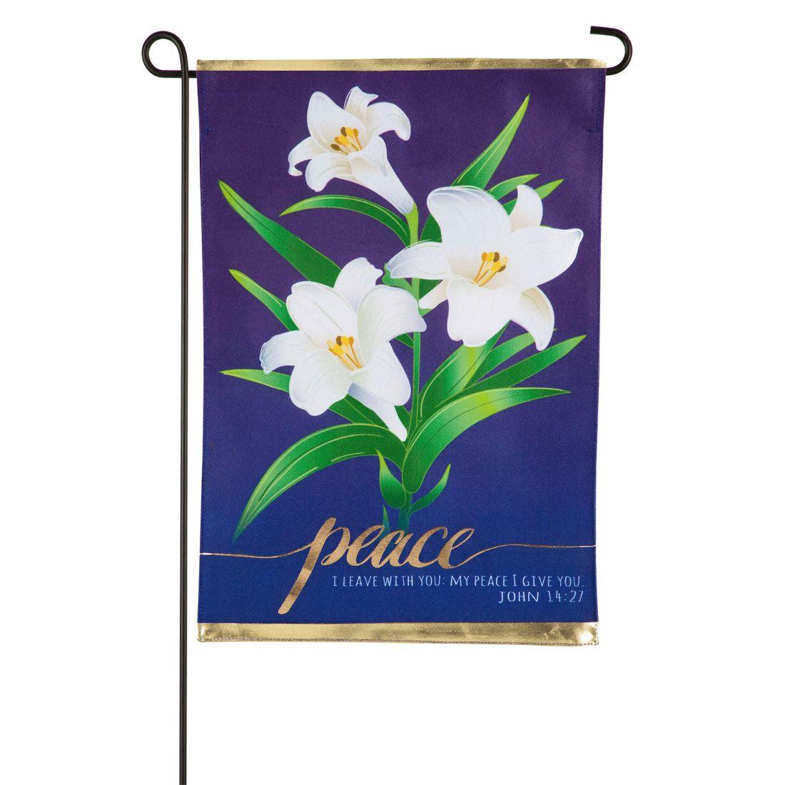 Easter Lilies Garden Linen Flag
