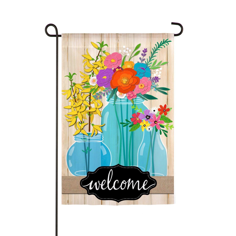 Blue Glass Floral Welcome Garden Linen Flag