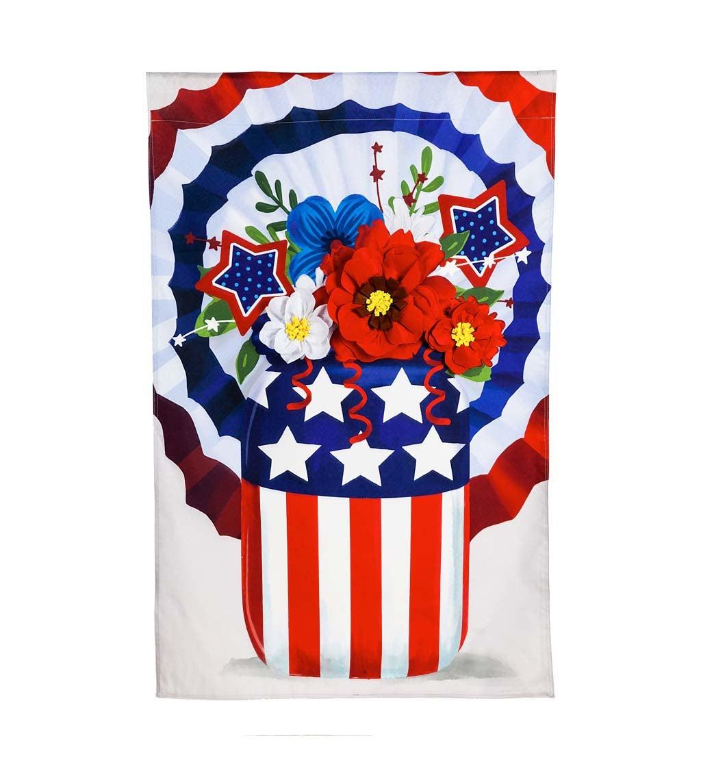 Stars & Stripes Mason Jar Bouquet Garden Linen Flag