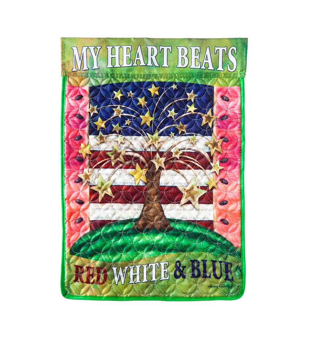 American Heart Beat Garden Quilted Flag