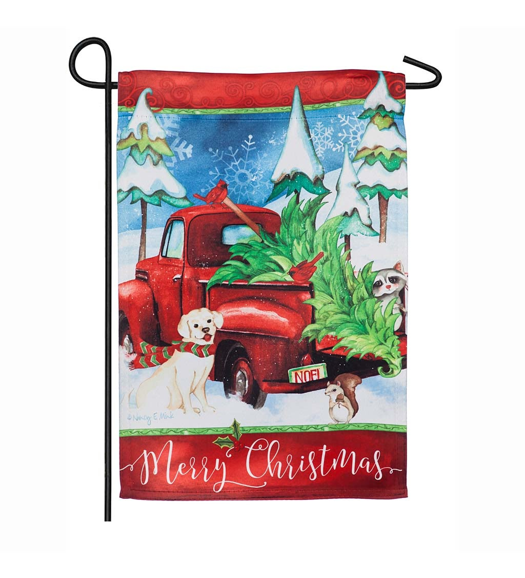 Bringing Home the Christmas Tree Suede Garden Flag