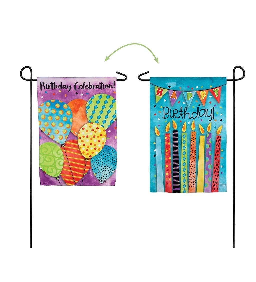 Birthday Celebration Garden Suede Flag