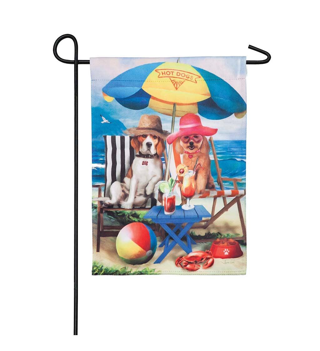 Beach Dogs Garden Suede Flag