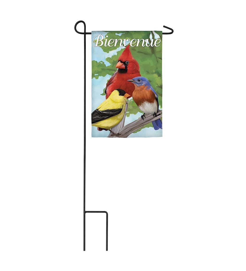 Bienvenue Bird Trio Garden Suede Flag