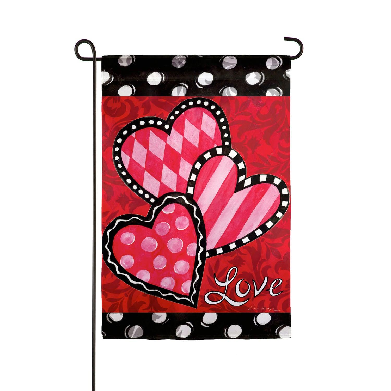 Bright Valentine's Hearts Garden Suede Flag