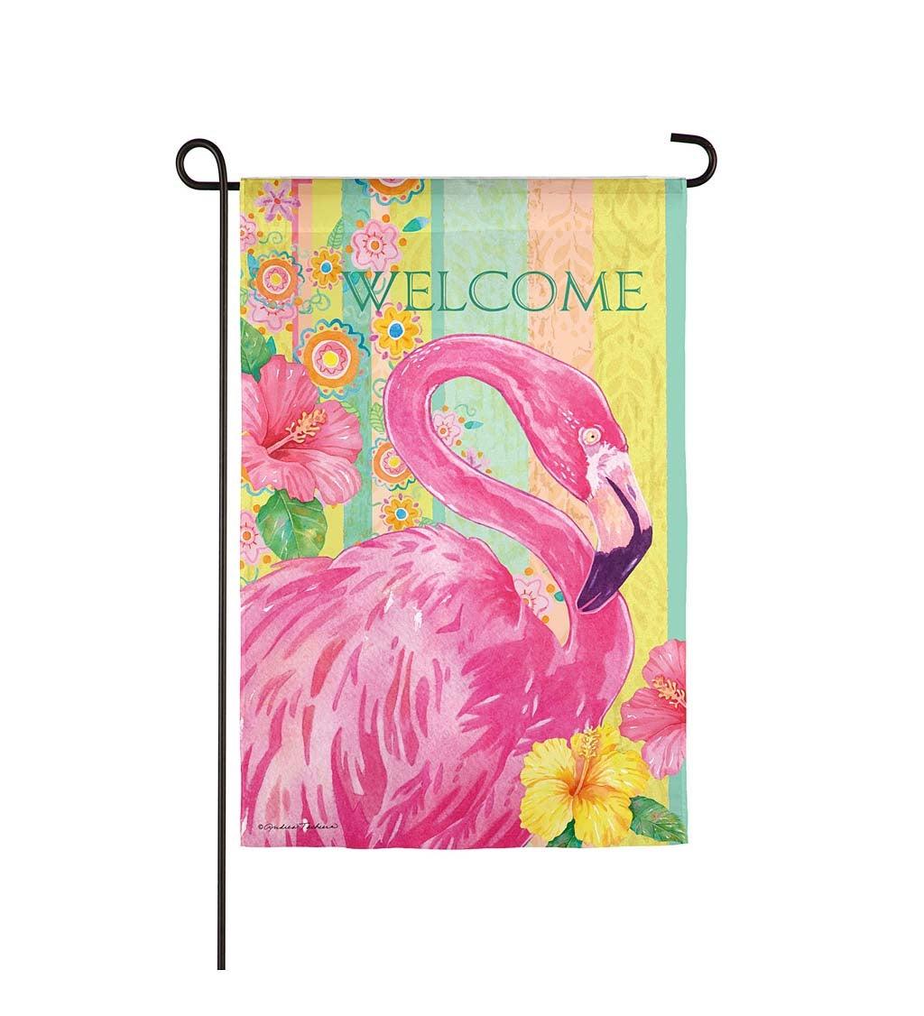Boho Flamingo Garden Suede Flag