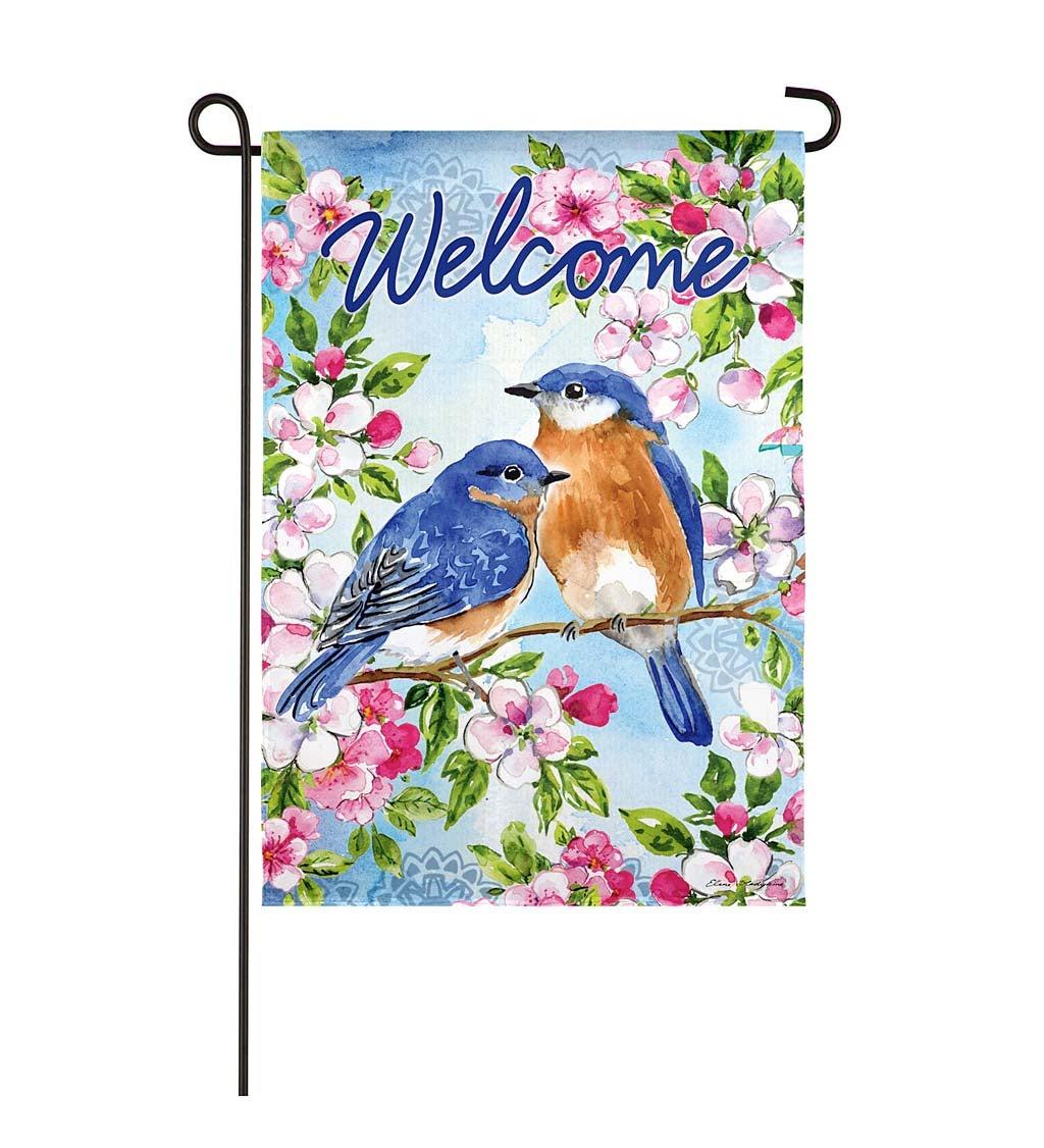 Bluebirds and Blossoms Garden Suede Flag