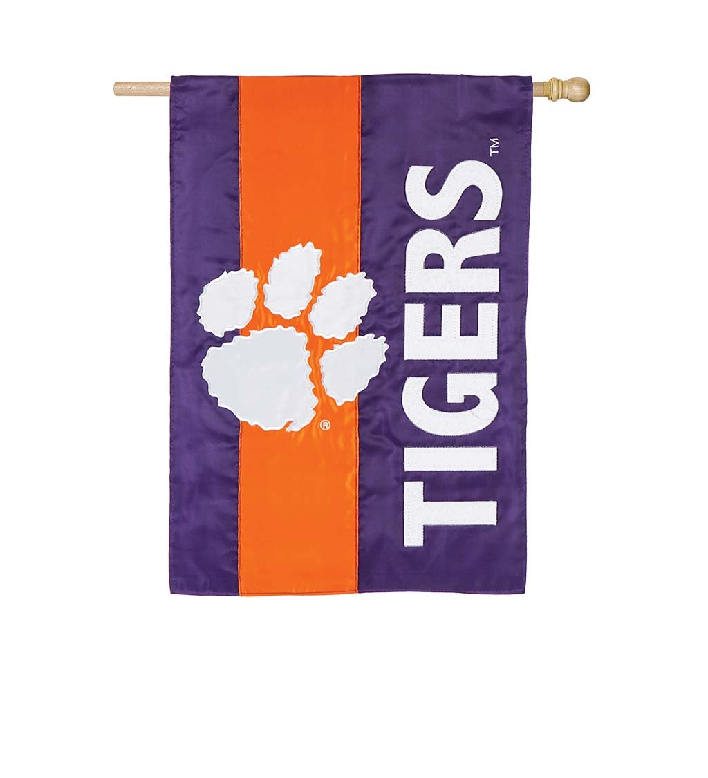 Clemson University Mixed-Material Embellished Appliqué House Flag