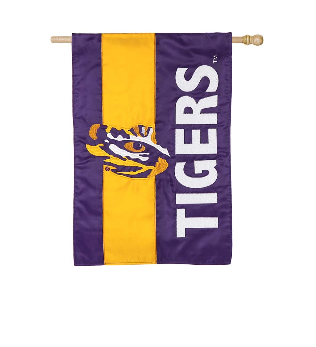 Louisiana State University Mixed-Material Embellished Appliqué House Flag