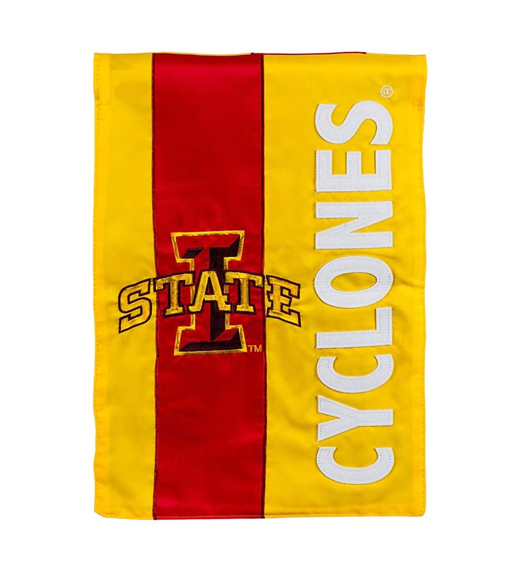 Iowa State University Mixed-Material Embellished Appliqué House Flag
