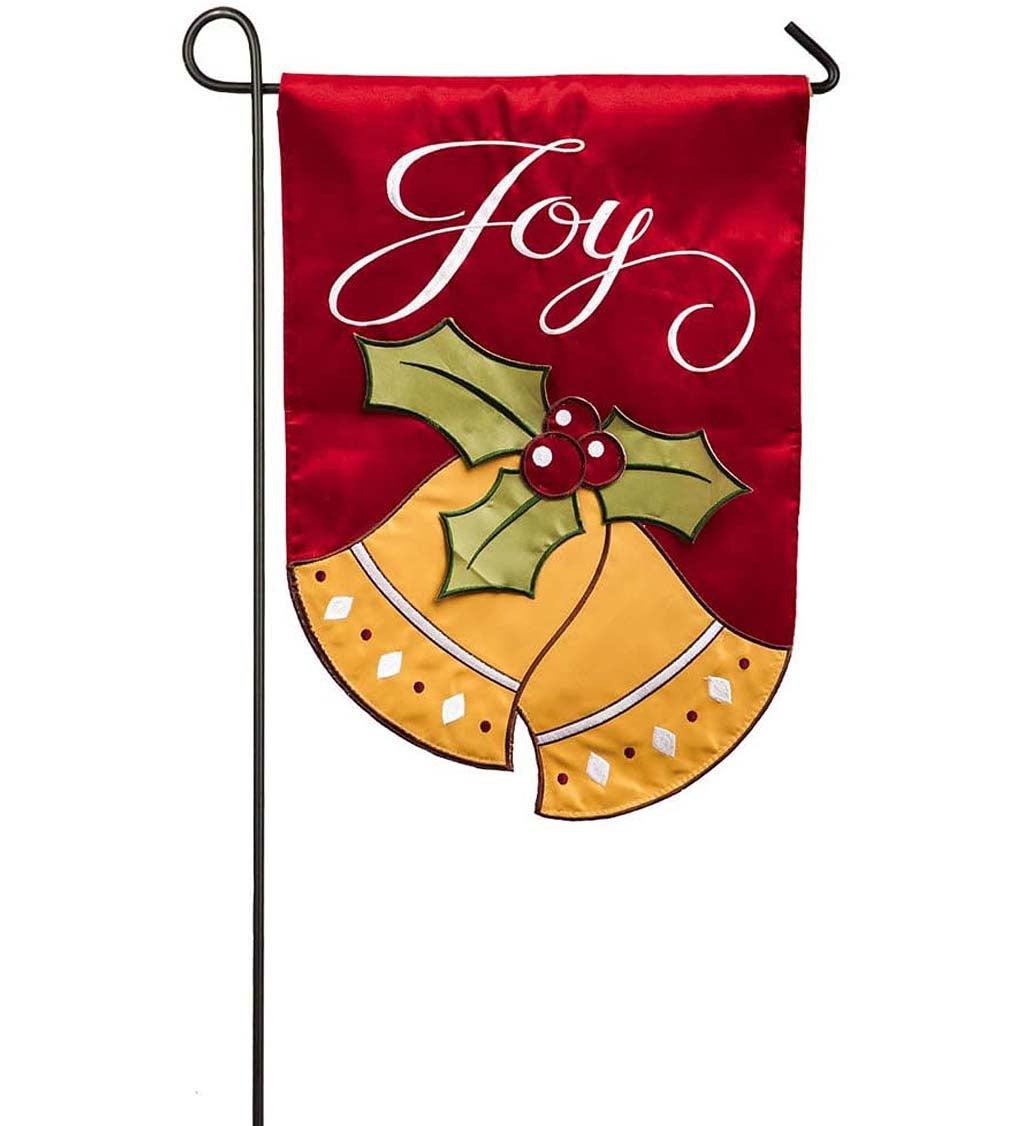 Joyful Christmas Bells Garden Applique Flag